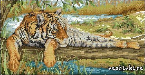 Тигр отдыхает. Схема вышивки
