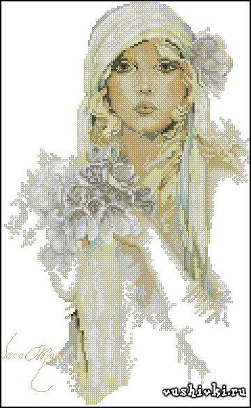Девушка с сиреневым цветком