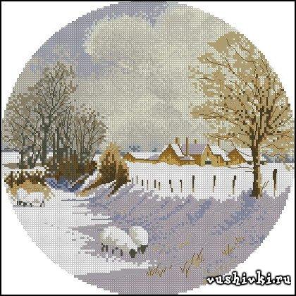 Зимний пейзаж. Схема вышивки в