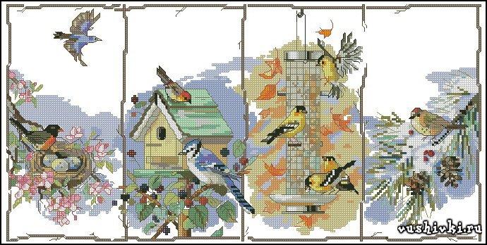 Сезонные птицы. Схема вышивки
