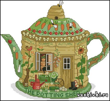 Чайник домик. Схема вышивки