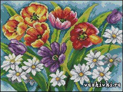 Букет тюльпанов. Схема вышивки