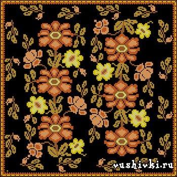 Подушка - Цветы на черном фоне