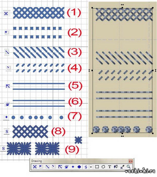 Виды стежков pattern maker