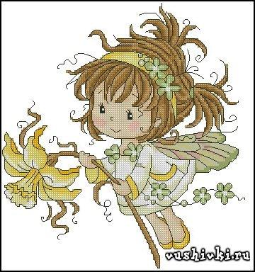 Схема вышивки маленькая фея