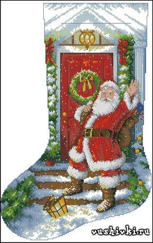 Схемы вышивки рождественских носков