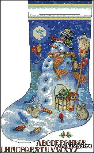 Рождественский носок - Snowman & Friends Stocking (Dimensions)