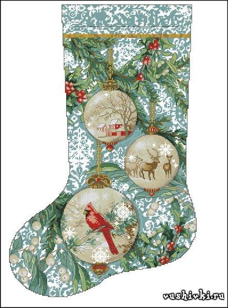 Схема для вышивки новогоднего носка