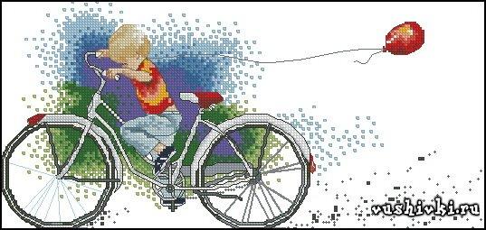 Схемы вышивки крестиком велосипед