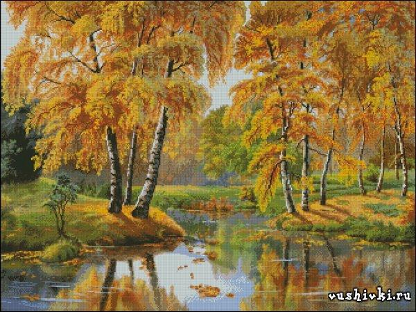 Вышивка крестом пейзаж осень