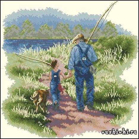 Бесплатная схема вышивки рыбака