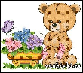 Мишка Тедди с цветами